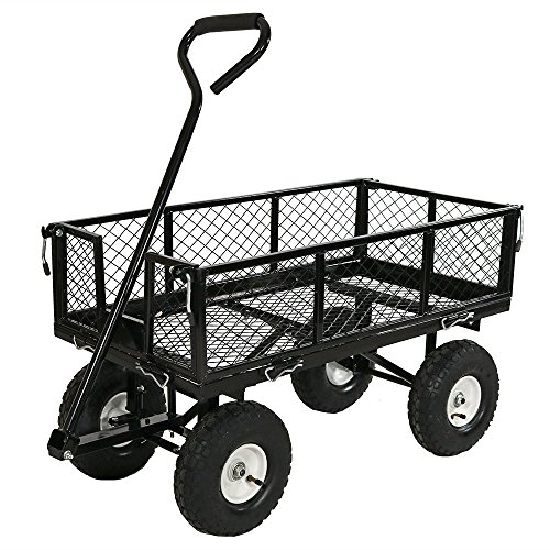 Sunnydaze Utility Garden Cart with Removable Folding Sides, Heavy-Duty 400 Pound Weight Capacity, Black