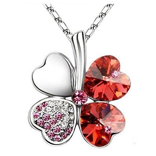 DeliaWinterfel Ciondolo di Cristallo Swarovski A Quadrifoglio - Rosso Rosa by