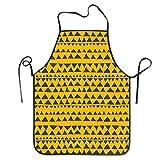 Delantal de Cocina con patrón geométrico Tribal Amarillo Mostaza, Delantal de Cocina, Cuello Ajustable y conexión de Cintura Extra Larga para cocinar, Barbacoa, Camarero, etc.