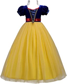 Kids Girls Snow White Princess Fancy Costume Dresses Up Cosplay Birthday Party Floor Length Dance Evening Gown