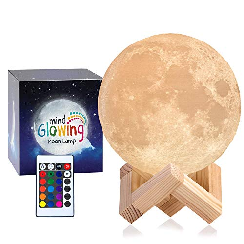 3D Moon Lamp - Rechargeable Night Light,16 LED Colors, Dimmable, (Standard, 4.7in) with Wooden...