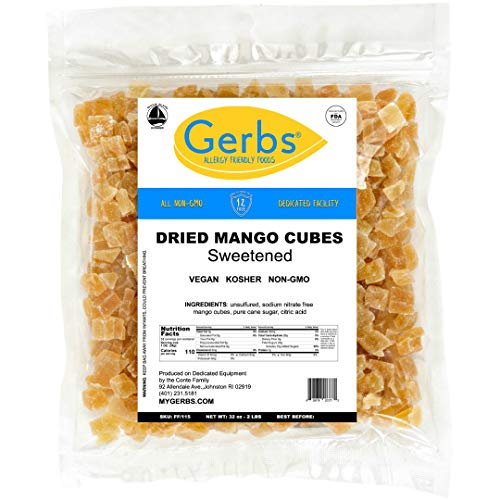 GERBS Dried Mango Cubes 32 ounce Bag Unsulfured Preservative Top 14 Food Allergy Free
