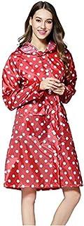 Chubasquero con capucha para mujer, respetuoso con el medio ambiente, impermeable, de poliéster con lunares