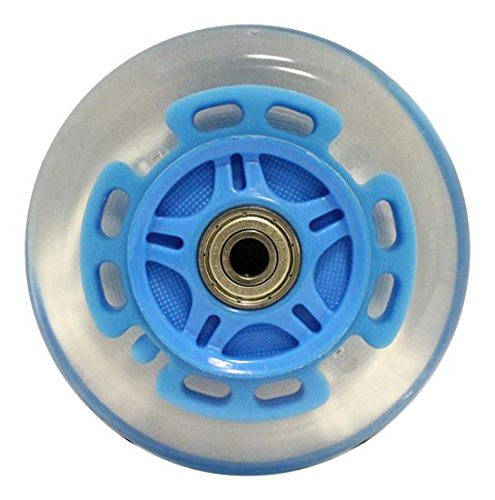 Kick Push LED Scooter Wheels with Abec9 Bearings for Razor Scooters Light Up (2 Pack), Blue, 100mm