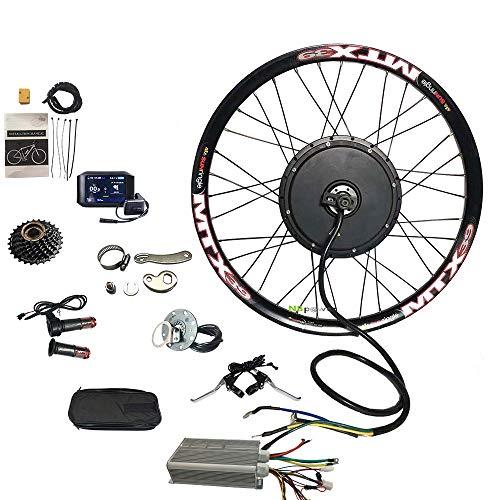 NBPOWER TFT 750C Sistema de visualización a color 3000w Kit de conversión de bicicleta eléctrica con controlador YF 18mosfet, volante de inercia de 7 velocidades y brazo de torsión (20 pulgadas)