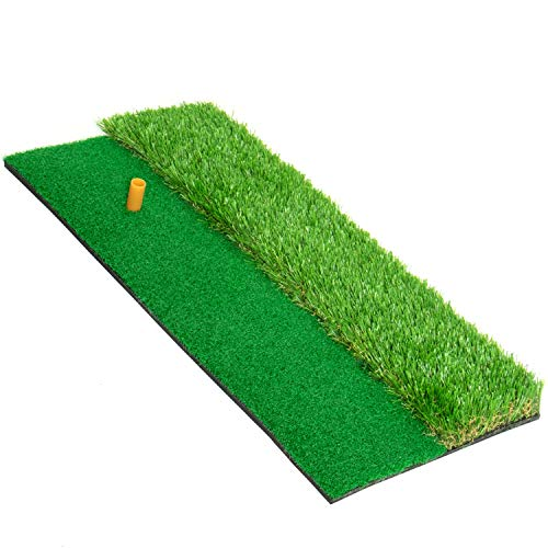 Gonioa Golf Hitting Turf Mat, Driving Chipping Golf Grass Mat with Rubber Tee, Realistic Grass Golf Hitting Pad for Backyard, Outdoor & Indoor