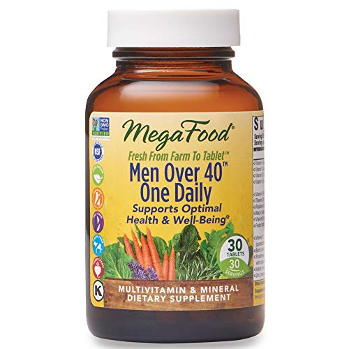 MegaFood, Men Over 40 One Daily, Daily Multivitamin and Mineral Dietary Supplement with Vitamins B, D and Zinc, Non-GMO, Vegetarian, 30 Tablets (30 Servings) (FFP)