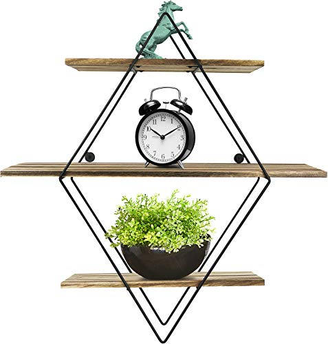 Greenco Geometric Diamond Shaped 3 Tier Mounted Floating, Rustic Wood Wall Storage Shelves for Bedroom, Living Room, Bathroom, Kitchen, Office etc, Natural