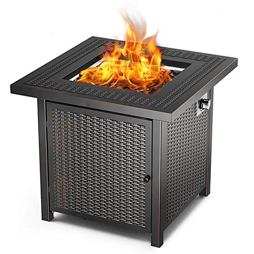 FC-Winter 28in Fire Pit Table 50,000 BTU Outdoor Wicker Patio Propane Gas, Square Gas Burner Fire Pit Table w/Faux Wood Tabletop, Lava Rocks, Cover, Hideaway Tank Holder, Lid