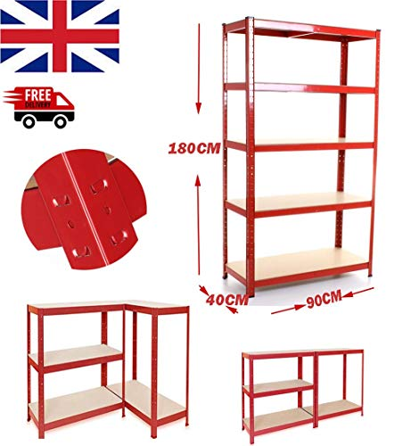 5 Tier Rode Heavy Duty Plank 180cm x 90cm x 40cm, Staal & MDF Boltless Planken, Extra Diepe Garage Schuur Racking Storage Shelving Unit 875KG Capaciteit (175KG per Plank)
