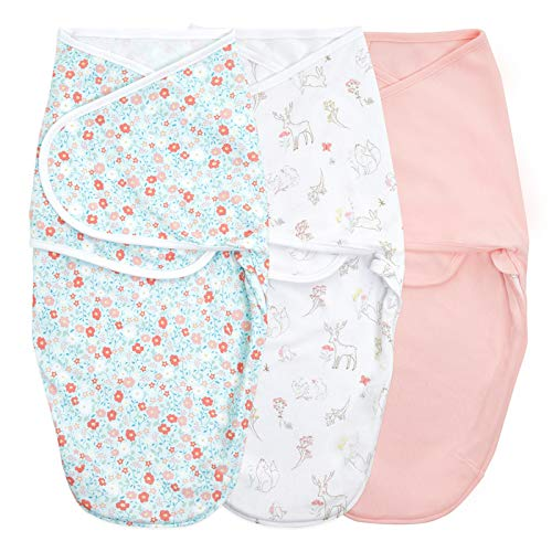 aden + anais Essentials Easy Wrap Swaddle, Cotton Knit Baby Wrap, Newborn Wearable Swaddle Sleep Sack, 3 Pack, Fairy Tale Flowers, 0-3 Months, Small/Medium