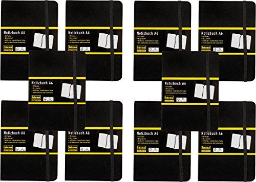 Idena - Notizbuch DIN A6, 192 Seiten, 80 g/m², schwarz (10, A6 kariert)