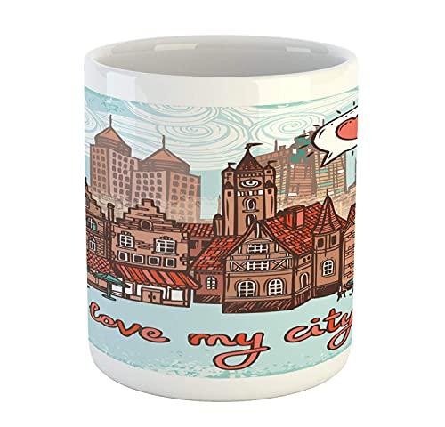 N\A City Mug, I Love My City Hallmarks Torre di Guardia Case in Legno Moderne e antiche, Tazza da caffè in Ceramica per Bevande al tè, 11 oz, ruggine Pallido Turchese Pallido