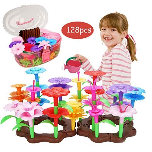 FORMIZON Kinder Blumengarten Spielzeug, 128 Pcs Blumengarten Spielzeug für Mädchen, Geschenk Mädchen 3 4 5 6 Jahre DIY Bouquet Sets Kinderspielzeug, DIY Set Lehrnpielzeug für Mädchen & Kleinkinder