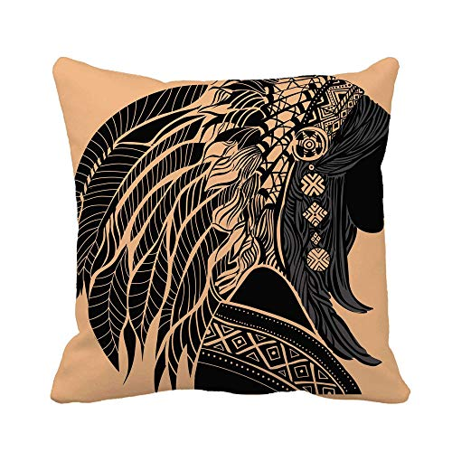 N\A Throw Pillow Cover Mujer Joven en Traje de Silueta de Indio Americano Hermosa Funda de Almohada Funda de Almohada Cuadrada Decorativa para el hogar Funda de cojín