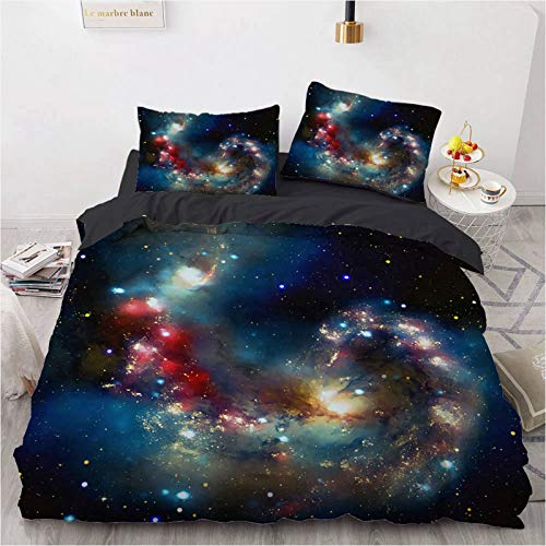 OUANGG Galaxy Bedding Space Duvet Cover, Universe Stars and Mystery Nebulas Cluster Bedspread Duvet Cover Set 3 Piece Blue Purple Queen Size, for Kids Boys Girls Teens (Galaxy b,Twin:68x90in)