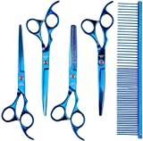 <span class='highlight'><span class='highlight'>GOFUN</span></span> Grooming Scissors Pet Grooming Scissors Set Stainless Steel Pet Trimmer Kit for Dogs with Rounded Tip (Blue)