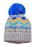 maximo Baby-Jungen mit Umschlag und Mustermix und Pompon Mütze, Mehrfarbig (Graumeliert./Classic Blue 578), (Herstellergröße: 49/51)