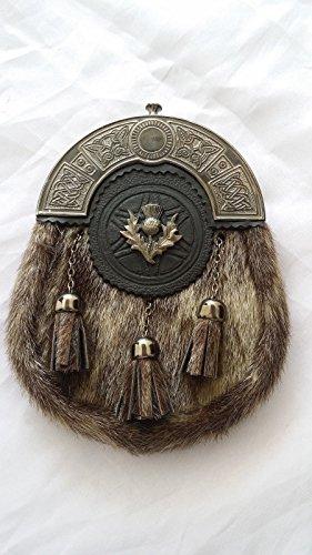 Kilt- / Schottenrock-Felltasche mit antikem Distelwappen und Seehundfell-Imitat, keltisches Stück