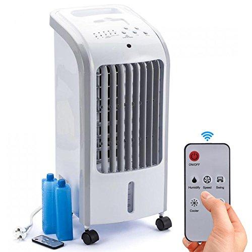 Bakaji Raffrescatore Rinfrescatore Ventilatore Umidificatore d'aria Air Cooler Massima Potenza Raffreddamento ad Acqua con serbatoio Ghiaccio Acqua, Timer e Telecomando