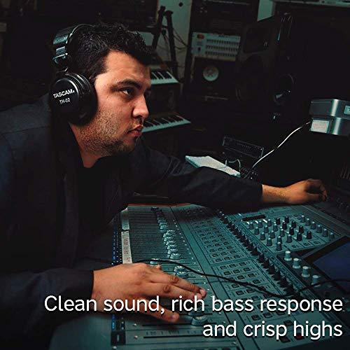 Tascam TH-02 Closed Back Studio Headphones, Black