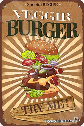 Specjalny przepis Veggie Burger Try Me 20 x 30 cm vintage wygląd cyna dekoracja artystyczna znak do domu kuchni łazienki gospodarstwa ogrodu garażu inspirujące cytaty dekoracja ścienna