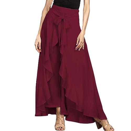 27f1f34546 VONDA Women Ruffle Embellished Tie-Waist Maxi Long Palazzo Overlay Pants  Skirts