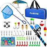 PLUSINNO Kids Fishing Pole, Portable Telescopic Fishing Rod and Reel Combo Kit - with Spincast Fishing Reel Tackle Box for Boys, Girls, Youth… (Blue+Net, 1.8M 5.91FT)