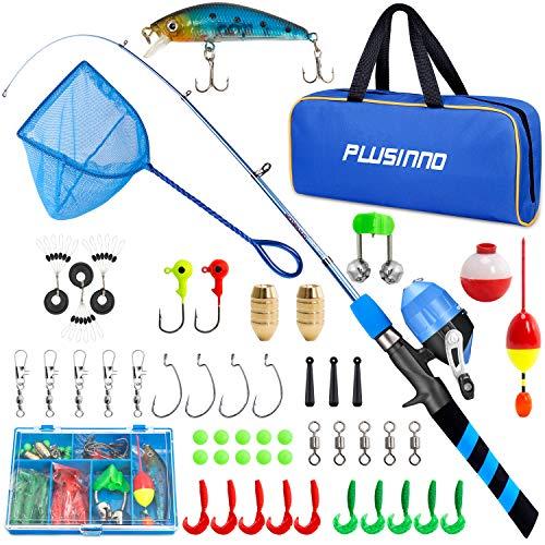 PLUSINNO Canna da pesca per bambini, telescopica e bobina da pesca, set combinato – con mulinello Spincast, per ragazzi e ragazze