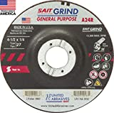 United Abrasives-SAIT 20063 A24R General Purpose/Long Life Grinding Wheel (Type 27/Depressed Center) 4 1/2' x 1/4' x 7/8', 25-Pack