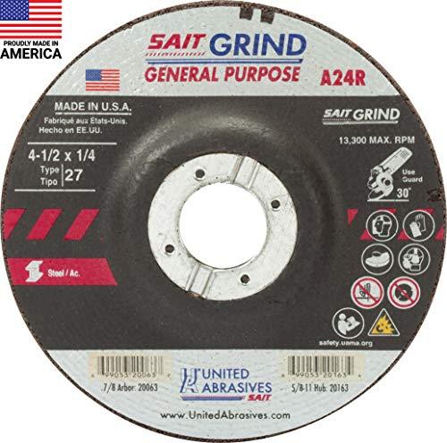 United Abrasives-SAIT 20063 A24R General Purpose/Long Life Grinding Wheel (Type 27/Depressed Center) 4 1/2