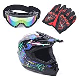 Youth Kids Offroad Gear Combo Helmet Gloves Goggles DOT Motocross Off-Road Racing ATV Dirt Bike Protector (#1, M)