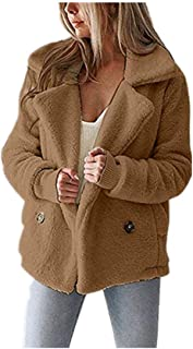 CCOOfhhc Women's Coat Autumn and Winter New Lapel Double Breasted Outwear Jackets Fleece Fuzzy Faux Shearling Overcoat