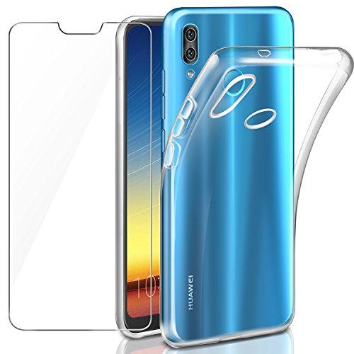 Leathlux Funda + Cristal para Huawei P20 Lite, Transparente P20 Lite TPU Silicona [Funda+Vidrio Templado] Protector de Pantalla 9H Dureza HD Flexible Case Cover para Huawei P20 Lite