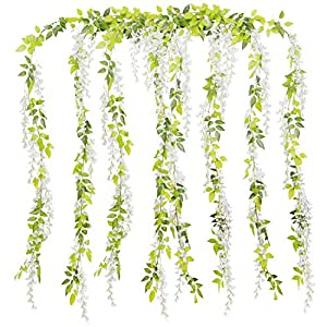 Foraineam 4Pcs 6.6Ft/Piece Artificial Wisteria Vine Rattan Silk Wisteria Garland Fake Hanging Flowers Greenery Plants String for Home Garden Ceremony Wedding Arch Floral Decor