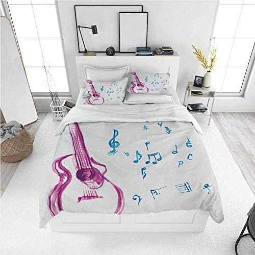 Guitar King Size Sheet Set-3 Piece Set, Bedding Set All Season Quilt Set Watercolor Musical Instrument with Notes Sheet Elements Brush Stroke Effect with Ultra Soft and Breathable Comforter Cover