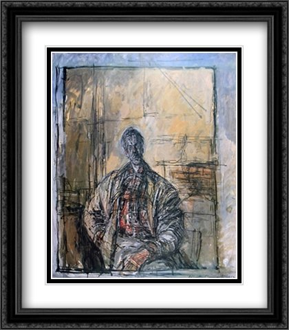 Diego a la Chemise Ecossaise 2X Matted 28x40 Large Black Ornate Framed Art Print by Alberto Giacometti