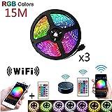 Tira de luz LED RGB SMD 5050 Cinta impermeable DC12V Diodo de cinta 5M 10M 15M Tiras de luz LED Lámpara de banda flexible Controlador IR WIFI-RGB_15M (3X5M)