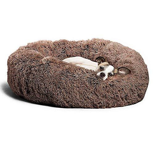 KongEU Extra großes Hundebett,waschbar,Rundes Hundekissen Komfortbett,Plüsch Hundesofa mit kuscheliger Liegefläche Hundekorb für Labrador,Golden Retriever,Husky Schäferhund-80cm-Coffee