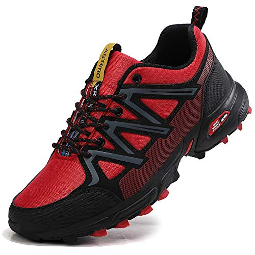 ASTERO Zapatillas de Deportes Hombre Running Zapatos para Correr Gimnasio Calzado Deportivos Ligero Sneakers Transpirables Casual Montaña Calzado Talla 41-46 (Rojo, Numeric_43)
