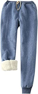 Funnygals Womens Warm Sherpa Lined Athletic Sweatpants Drawstring Joggers Fleece Pant Trousers with Pockets Plus Size