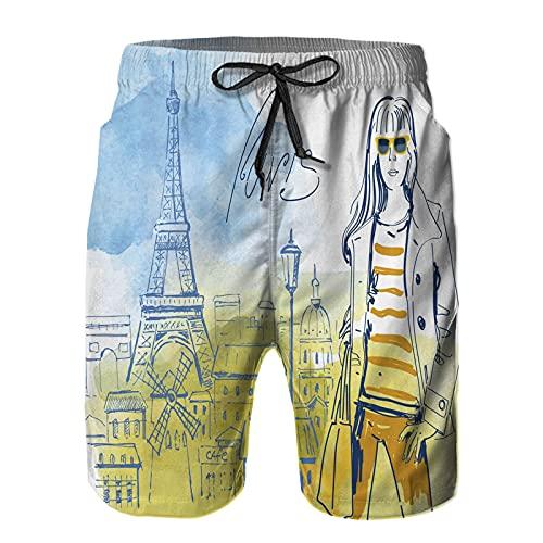 YZBEDSET Bañador De para Hombre Pantalones Playa Shorts, Torre Eiffel con Tema de París y Cuadro Vintage Dibujado a Mano de una Chica Elegante Secado Rápido Ligero Baño Cortos L