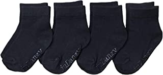 juDanzy 4 Pack Black Ankle Socks Kids Ages 0-8 Years (With Grips)