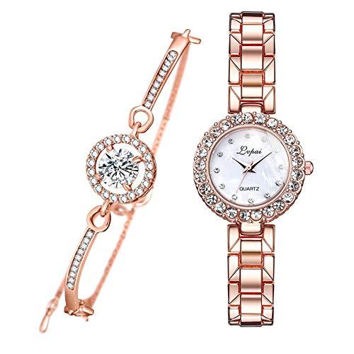 #N/A/a 2 en 1 Relojes de Mujer Brazalete de Cadena Brazalete Pulsera de muñeca Femenina joyería Regalos - Rosa Rojo Blanco