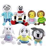 RKMJXJ 7 PCS/Set 22-29CM BRIGHTALE Plush Toy Dolle Sans Frisk BRAK Asriel Temmie Toriel PELUMINIO Toys Toys Cumpleaños para niños Regalos para niños