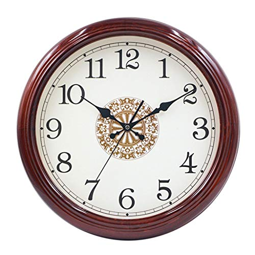 SMEJS De Forma Redonda, DialClocks Modernos, Reloj de Pared del Reloj de Pared silencioso, Madera Maciza, Reloj de Cuarzo