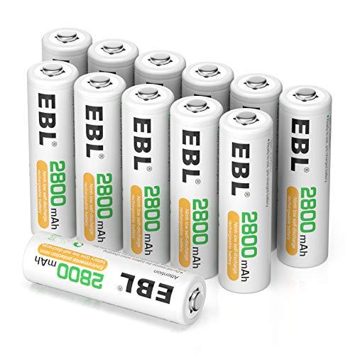 EBL 12PCS AA Piles Rechargeables Haute Capacité- 12 Piles Rechargeables AA LR6 2800Ah 1,2V Ni-MH avec Boîte de Stockage de Piles