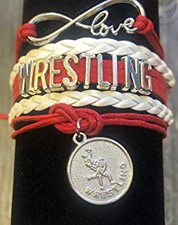 Wrestling Charm Infinity Bracelet- Wrestling Jewelry for Wrestlers,Teams, Moms and Coaches