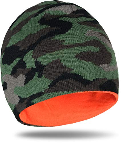 Unisex Winter Wendemütze Beanie Mütze in Neon-Orange / Camouflage