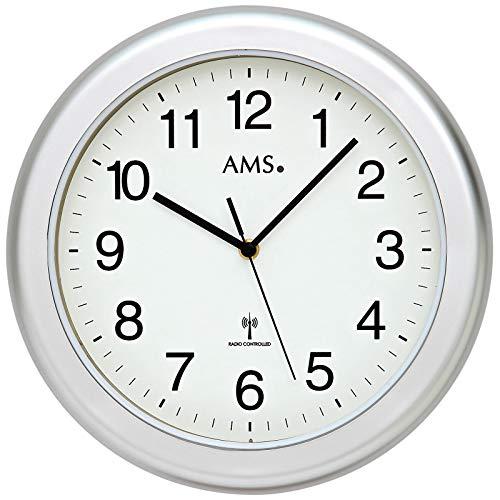 AMS - Funkuhr - Badezimmeruhr - Kunststoffgehäuse silberfarben lackiert - wasserdicht - Sekundenzeiger